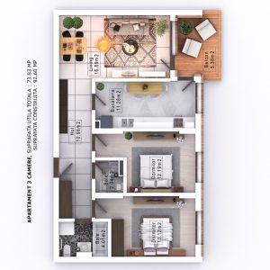 Randare 3D Mihai Bravu Residence Bravu Global City Residence